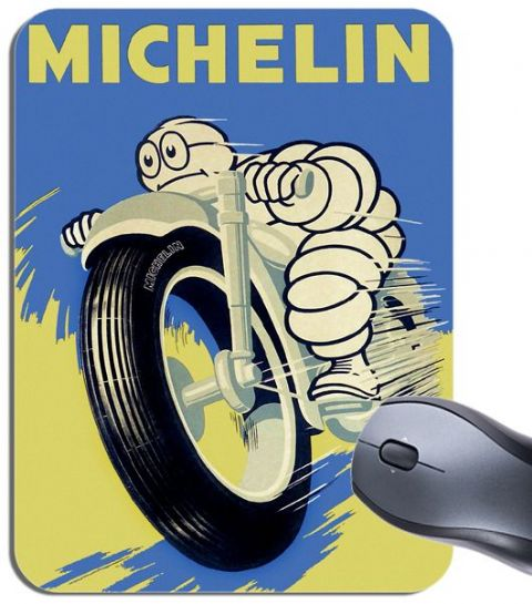 Michelin Tyres  Vintage Advert Poster Mouse Mat Motorbike Tire Mouse Pad